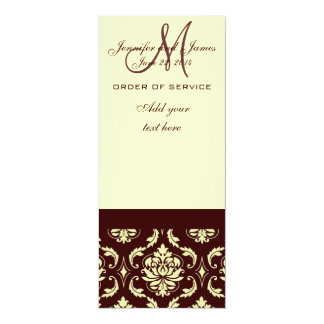 Wedding Programs Brown Cream Damask