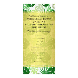 Wedding Programs | Exotic Green Tropical Leaves Rack Card