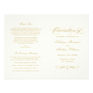 Wedding Programs | Gold Calligraphy Design 21.5 Cm X 28 Cm Flyer