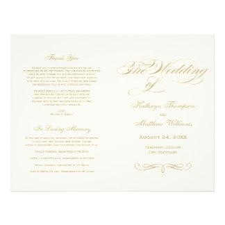 Wedding Programs   Gold Calligraphy Design 21.5 Cm X 28 Cm Flyer