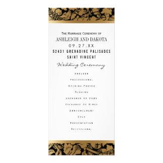 Wedding Programs | Golden Floral Damask on Black Rack Card
