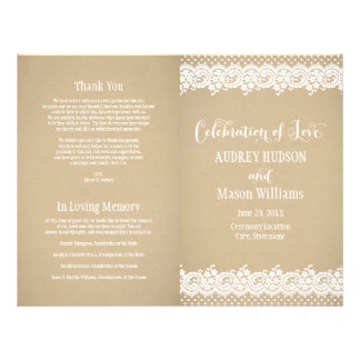 Wedding Programs | Lace and Kraft 21.5 Cm X 28 Cm Flyer