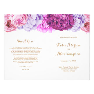 Wedding Programs with Pretty Watercolour Flowers Flyer