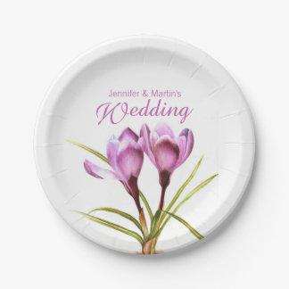 Wedding purple crocus art named paper plate