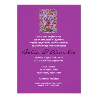Wedding - Purple Flower Fiesta Sugar Skull Invite