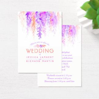 Wedding purple orange cascade info enclosure card