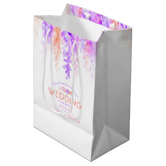 Wedding purple pink flowers thanks favour gift bag