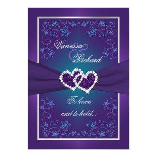 Wedding   Purple, Teal   Floral   Hearts FAUX Foil 13 Cm X 18 Cm Invitation Card