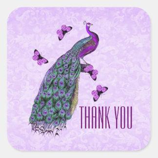 Wedding Purple Vintage Peacock THANK YOU V01C3A Square Sticker