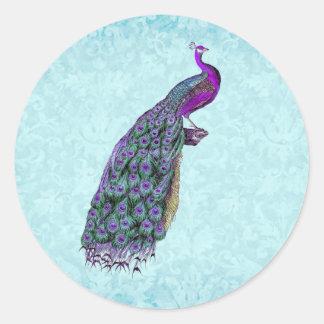 Wedding Purple Vintage Peacock V01C Round Stickers
