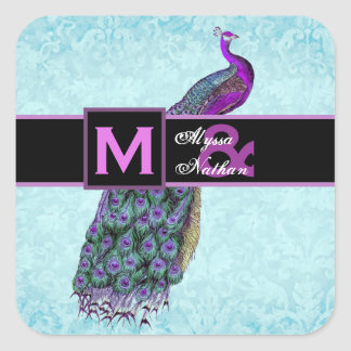 Wedding Purple Vintage Peacock with Monogram V01A Stickers