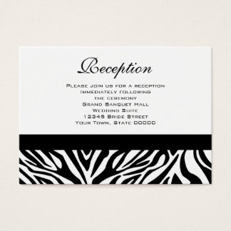 Wedding Reception Cards Black and White Zebra