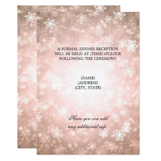 Wedding Reception Copper Winter Wonderland Card