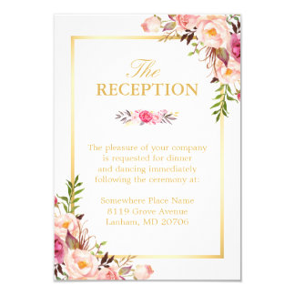 Wedding Reception Elegant Chic Floral Gold Frame 9 Cm X 13 Cm Invitation Card