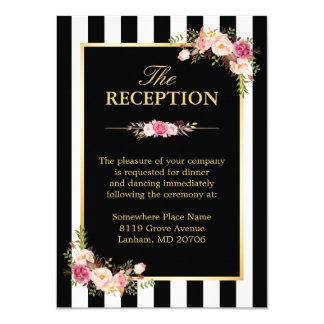 Wedding Reception Floral Gold Black White Stripes Card