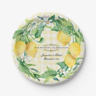Wedding Reception Gingham Lemon Floral Leaf Wreath Paper Plate