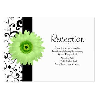 Wedding Reception Green Gerbera Daisy Black Scroll Pack Of Chubby Business Cards