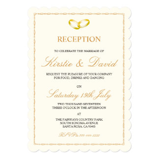 Wedding Reception Invitation with Gold Rings