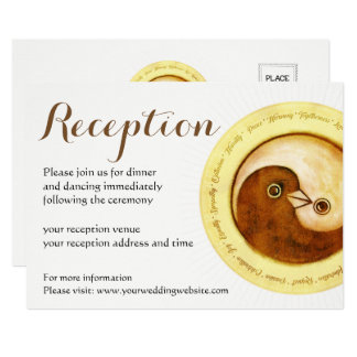 WEDDING RECEPTION INVITE. Gold YinYang doves Card
