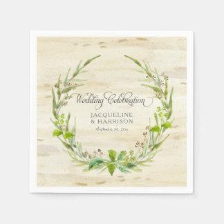 Wedding Reception Leaves Wreath Birch Bark Wood Paper Napkin