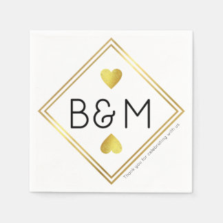 wedding reception love monogram geometric square paper serviettes