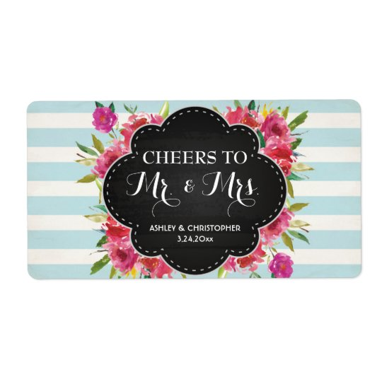 Wedding Reception Mini Champagne Label Floral Shipping Label