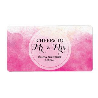 Wedding Reception Mini Champagne Label Watercolor Shipping Label