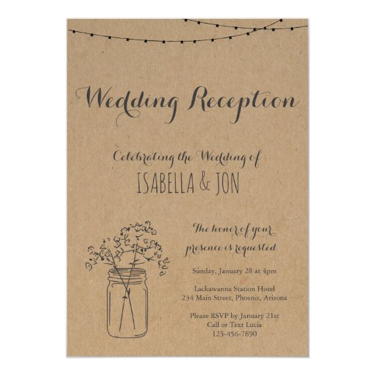 Wedding Reception Only | Rustic Kraft Paper Card