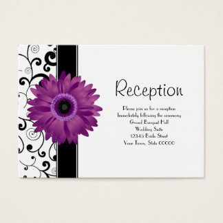 Wedding Reception Purple Gerbera Daisy w/ Scroll Business Card