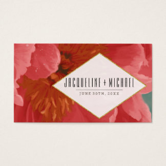 Wedding Reception Rose Gold Glitter Red Peony Art Business Card