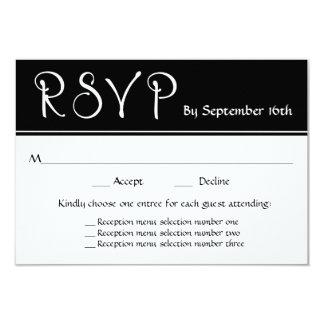 Wedding Reception RSVP 3 Menu Choices Response Card