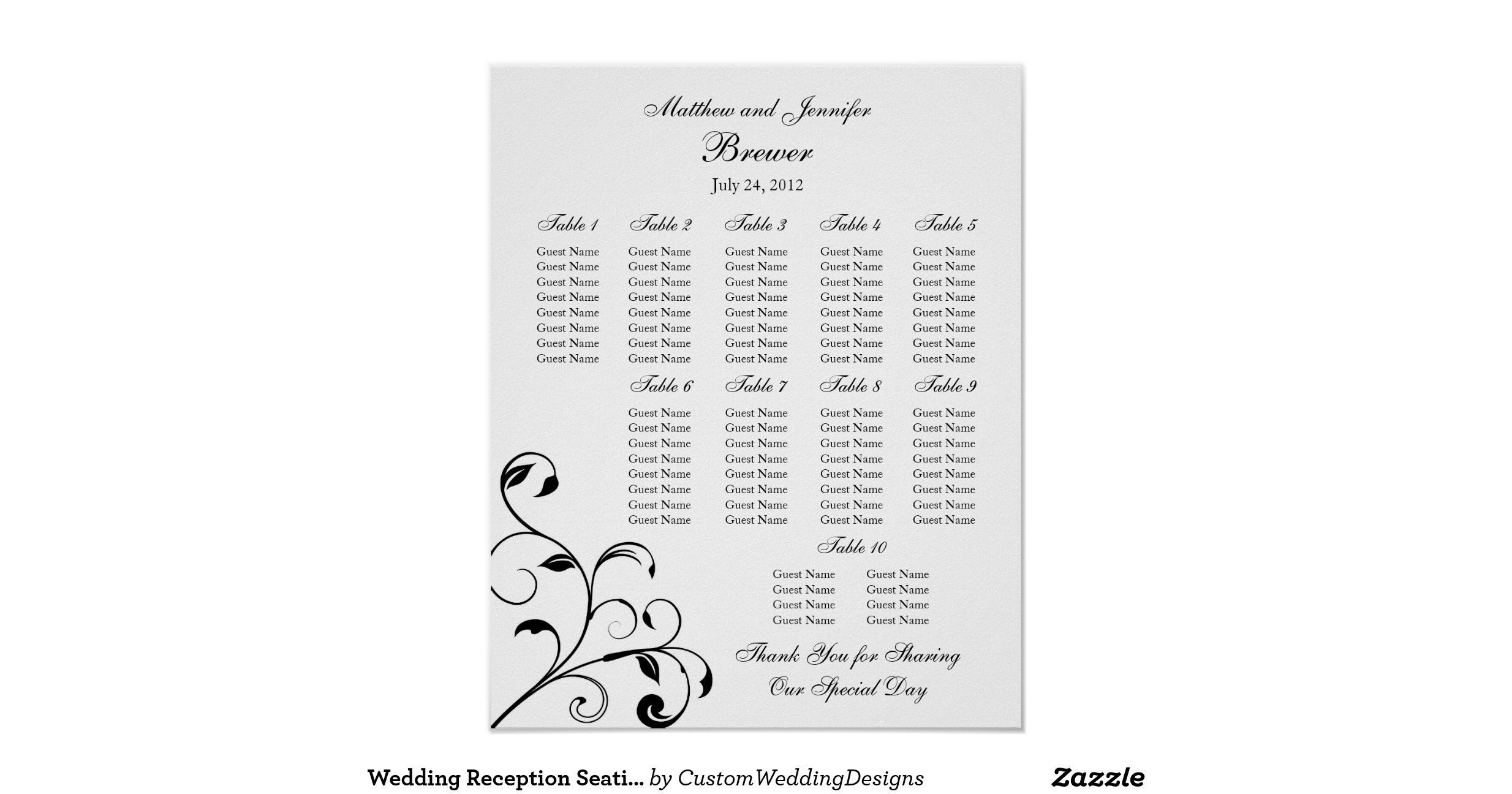 wedding seating chart template 10 per table