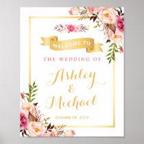 Wedding Reception Sign Elegant Chic Floral Gold Poster