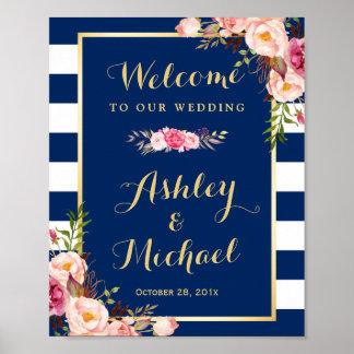 Wedding Reception Sign Floral Navy Blue Stripes Poster