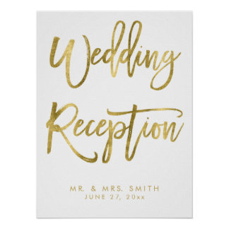 Wedding Reception Sign Print Gold And White
