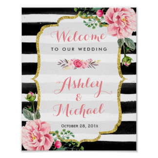 Wedding Reception Sign Stripes Floral Gold Glitter