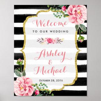 Wedding Reception Sign Stripes Floral Gold Glitter Poster