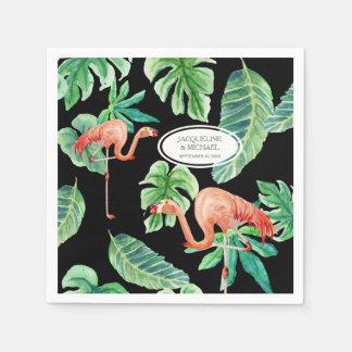 Wedding Reception Watercolor Pink Flamingo Leaf Paper Napkin