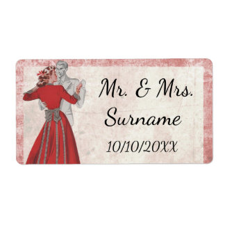 Wedding Reception Wine Bottle Label Dancing Couple Shipping Label