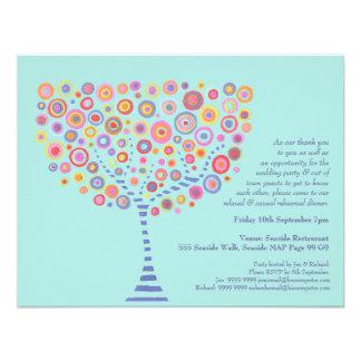 Wedding Rehearsal Dinner Aqua Circle Tree Invite