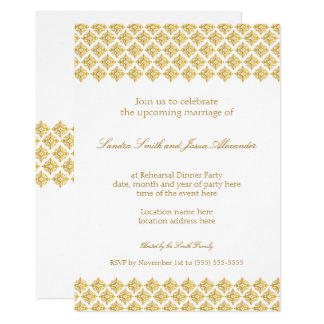 Wedding Rehearsal Dinner Gold Invitation