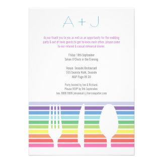 Wedding Rehearsal Dinner Rainbow Cutlery Invite