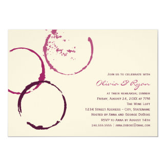 Wedding Rehearsal Dinner | Wine Stain Rings 13 Cm X 18 Cm Invitation Card