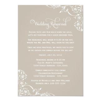 Wedding Rehearsal   Taupe Gray Scroll 13 Cm X 18 Cm Invitation Card