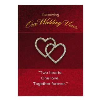Wedding Renewal - Two Hearts are One 13 Cm X 18 Cm Invitation Card