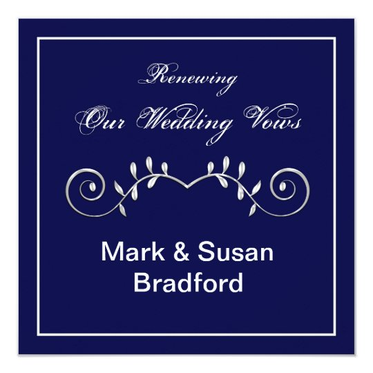Wedding Renewal Vows - In vitation- Navy Card