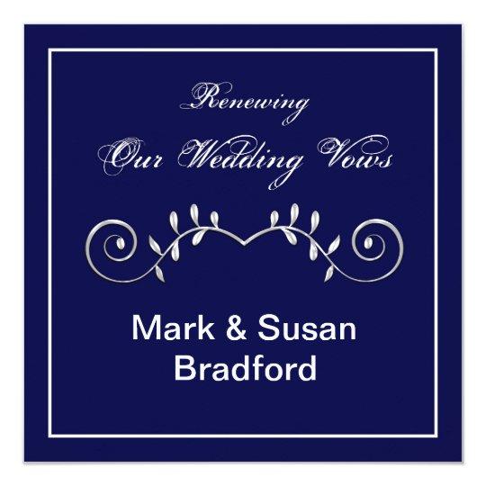Wedding Renewal Vows - In vitation- Navy Invitation