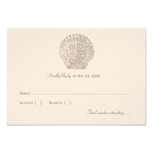 Wedding Reply Card 1 | Ivory Seashell Personalized Invites
