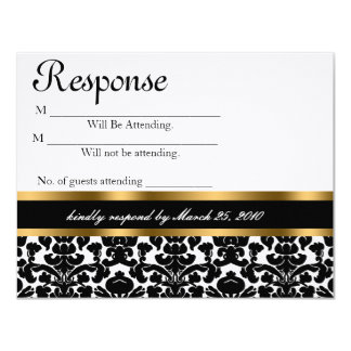 "Wedding Reply Card Damask & Gold 4.25"" X 5.5"" Invitation Card"