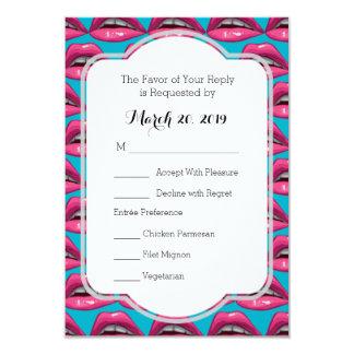 Wedding Reply Card Pop Art Pink Lips Makeup